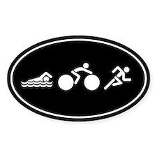 Run Bike Swim Icons Sticker (Oval)