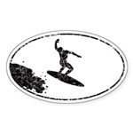 Chasm Surfer gets big air Sticker (Oval)