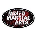 Mixed Martial Arts Black Sticker (Oval)