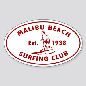 Malibu Beach Surfing Club Auto Sticker (Oval)