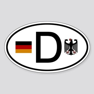 German D Flag and Eagle Oval Sticker