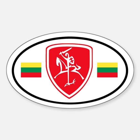 Red Vytis Sticker (Oval)