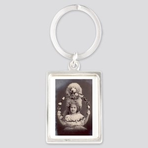 Girl with Poodle Portrait Keychain