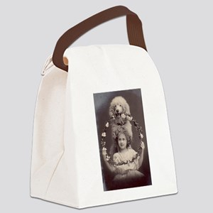 Girl with Poodle Canvas Lunch Bag