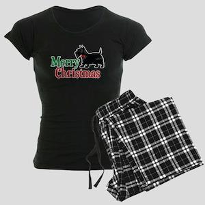 Christmas Scottish Terrier Women's Dark Pajamas