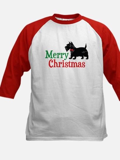 Christmas Scottish Terrier Kids Baseball Jersey