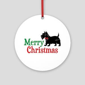 Christmas Scottish Terrier Ornament (Round)