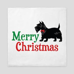 Christmas Scottish Terrier Queen Duvet