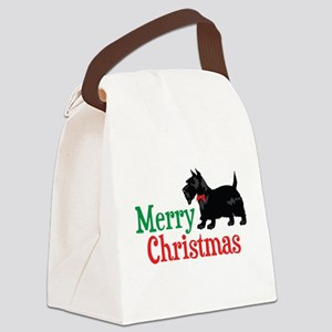 Christmas Scottish Terrier Canvas Lunch Bag