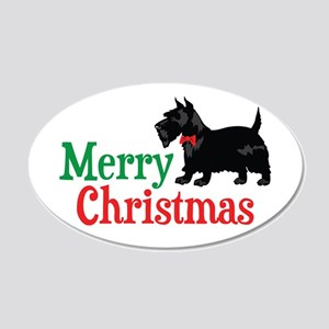 Christmas Scottish Terrier 20x12 Oval Wall Decal