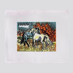 1978 France Horses Painting Stamp Throw Blanket