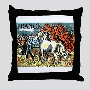 1978 France Horses Painting Stamp Throw Pillow