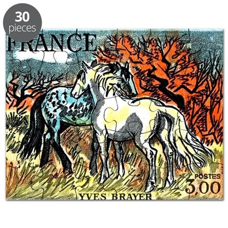 1978 France Horses Painting Stamp Puzzle