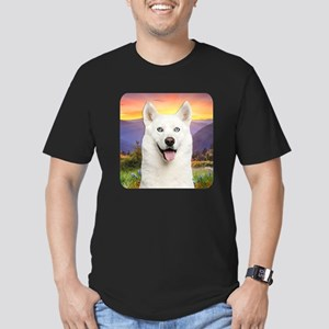 White Husky Meadow Men's Fitted T-Shirt (dark)