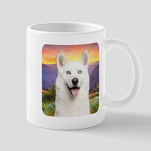 White Husky Meadow Mug