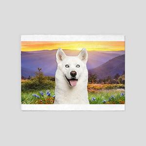 White Husky Meadow 5'x7'Area Rug