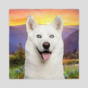 White Husky Meadow Queen Duvet