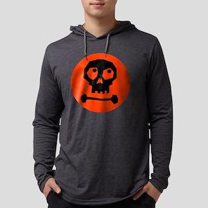 SkullonOrangeTopBL12x12 Mens Hooded Shirt