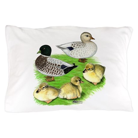Snowy Call Duck Family Pillow Case