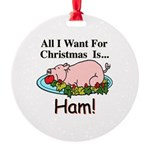 Christmas Ham Round Ornament