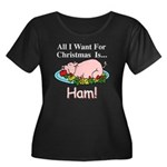 Christmas Ham Women's Plus Size Scoop Neck Dark T-