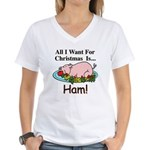 Christmas Ham Women's V-Neck T-Shirt