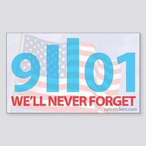 9-11-2001 We'll Never Forget, Flag Sticker