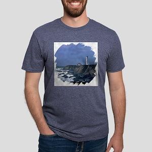 lighthouse in blue 10 brush Mens Tri-blend T-Shirt