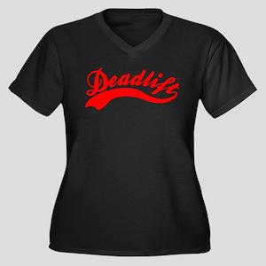 Team Deadlift Red Women's Plus Size V-Neck Dark T-