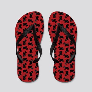 Scottish Terrier Pattern Red Flip Flops
