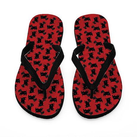 Scottish Terrier Pattern Red Flip Flops