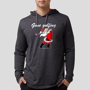 Santa's Gone Golfing Mens Hooded Shirt