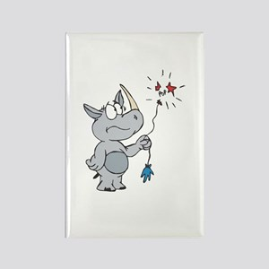 Rhino With Popped Balloon Rectangle Magnet