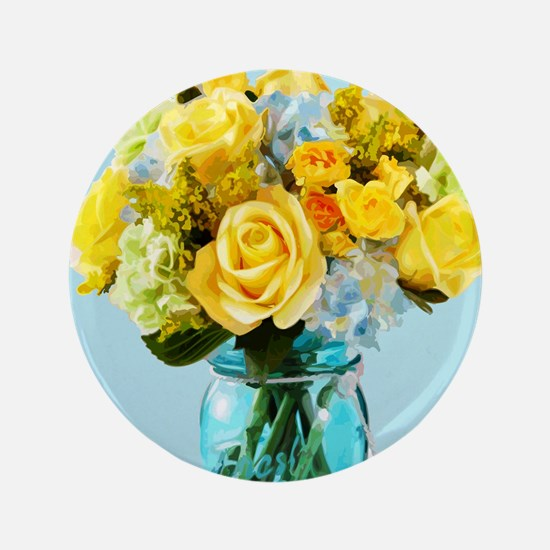 Yellow Roses In Mason Jar Floral Button
