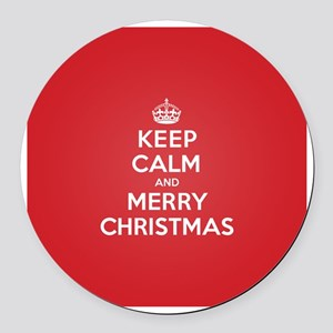 Keep Calm Merry Christmas Round Car Magnet