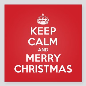 "Keep Calm Merry Christmas Square Car Magnet 3"" x 3"
