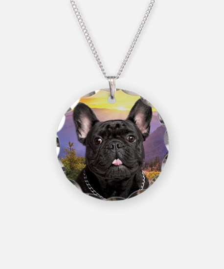 French Bulldog Meadow Necklace Circle Charm