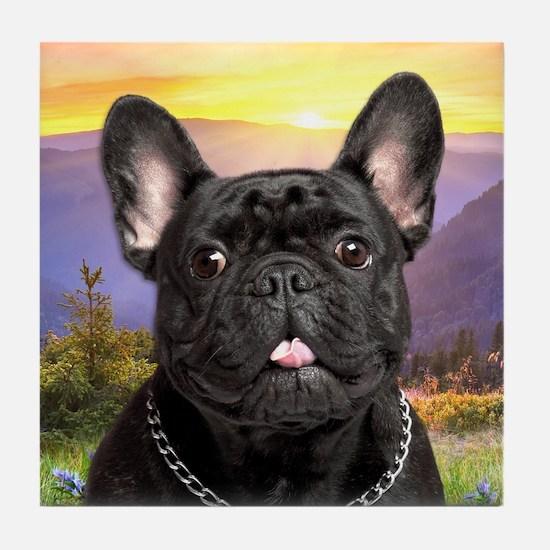 French Bulldog Meadow Tile Coaster