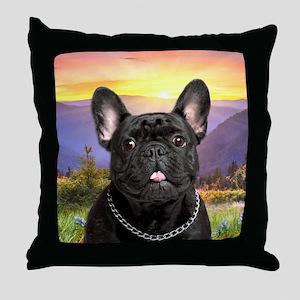 French Bulldog Meadow Throw Pillow