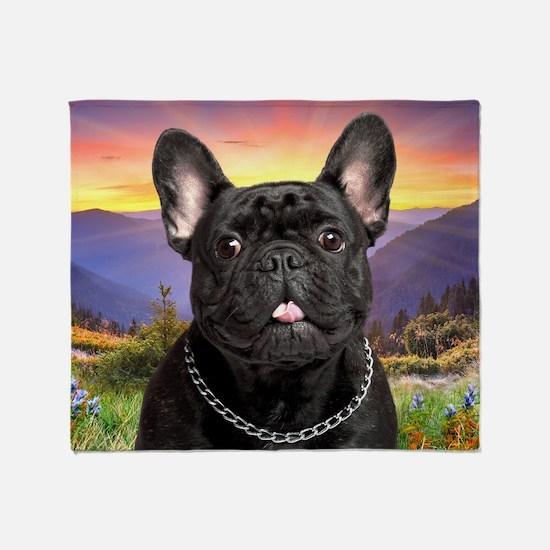 French Bulldog Meadow Throw Blanket