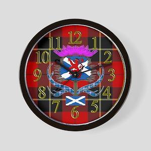 Red tartan saltire thistle clock Wall Clock