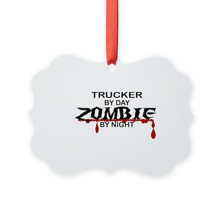 Trucker Zombie Picture Ornament