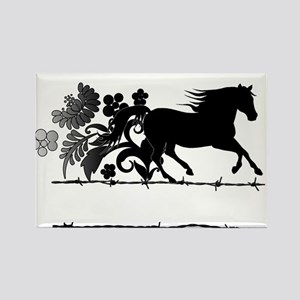 Horse Barbwire Girly Rectangle Magnet
