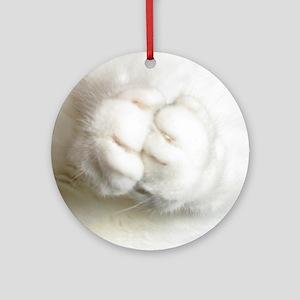 White Furry Cat Paws Praying Ornament (Round)