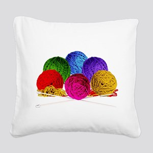 Great Balls of Bright Yarn! Square Canvas Pillow