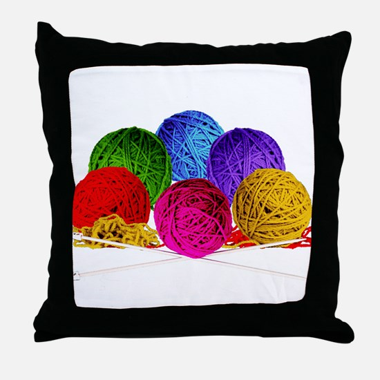 Great Balls of Bright Yarn! Throw Pillow