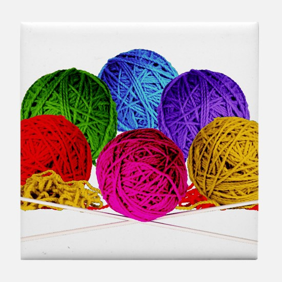 Great Balls of Bright Yarn! Tile Coaster
