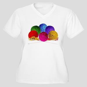 Great Balls of Bright Yarn! Women's Plus Size V-Ne