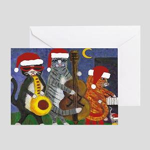 Jazz Cats Christmas Santas Greeting Card