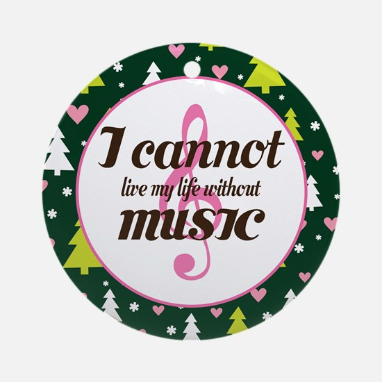 Music Quote Christmas Gift Ornament (Round)
